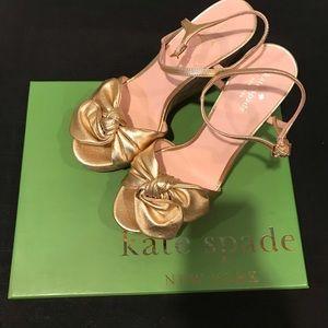 New Kate Spade Janae Gold Metallic Wedge Heels